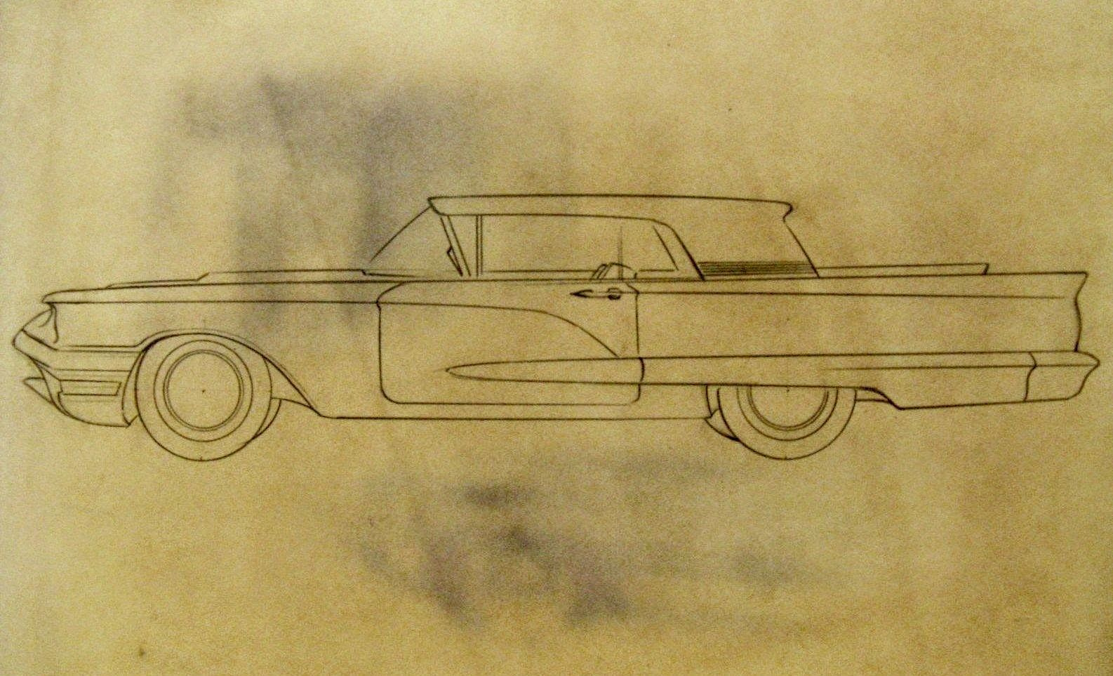Deadly Curves 1959 1960 Ford Thunderbird Concept Drawings Very Rare And Very Cool Ford Thunderbird Vintage Drawing Thunderbird