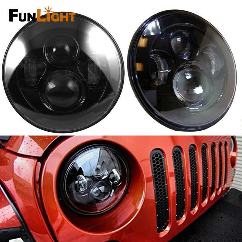 Free Shipping Black 7 Round Headlight For Jeep Wrangler 97 15 Hummer Toyota Defender 7 Inch Led Headlights Fo Jeep Wrangler Led Headlights 2007 Jeep Wrangler