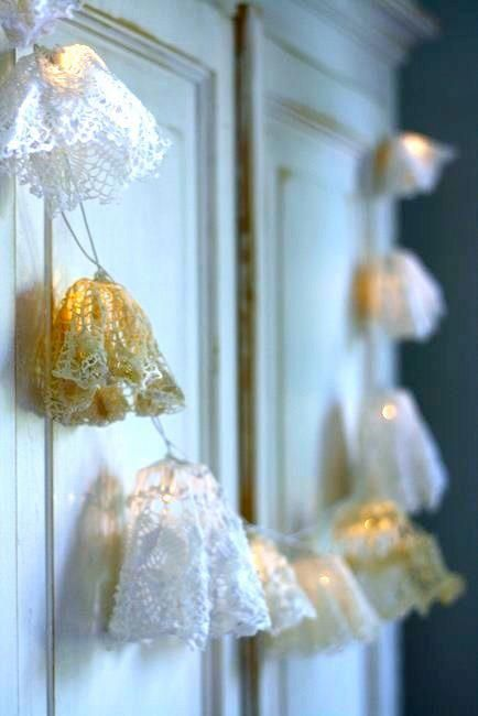 doilies on string lights