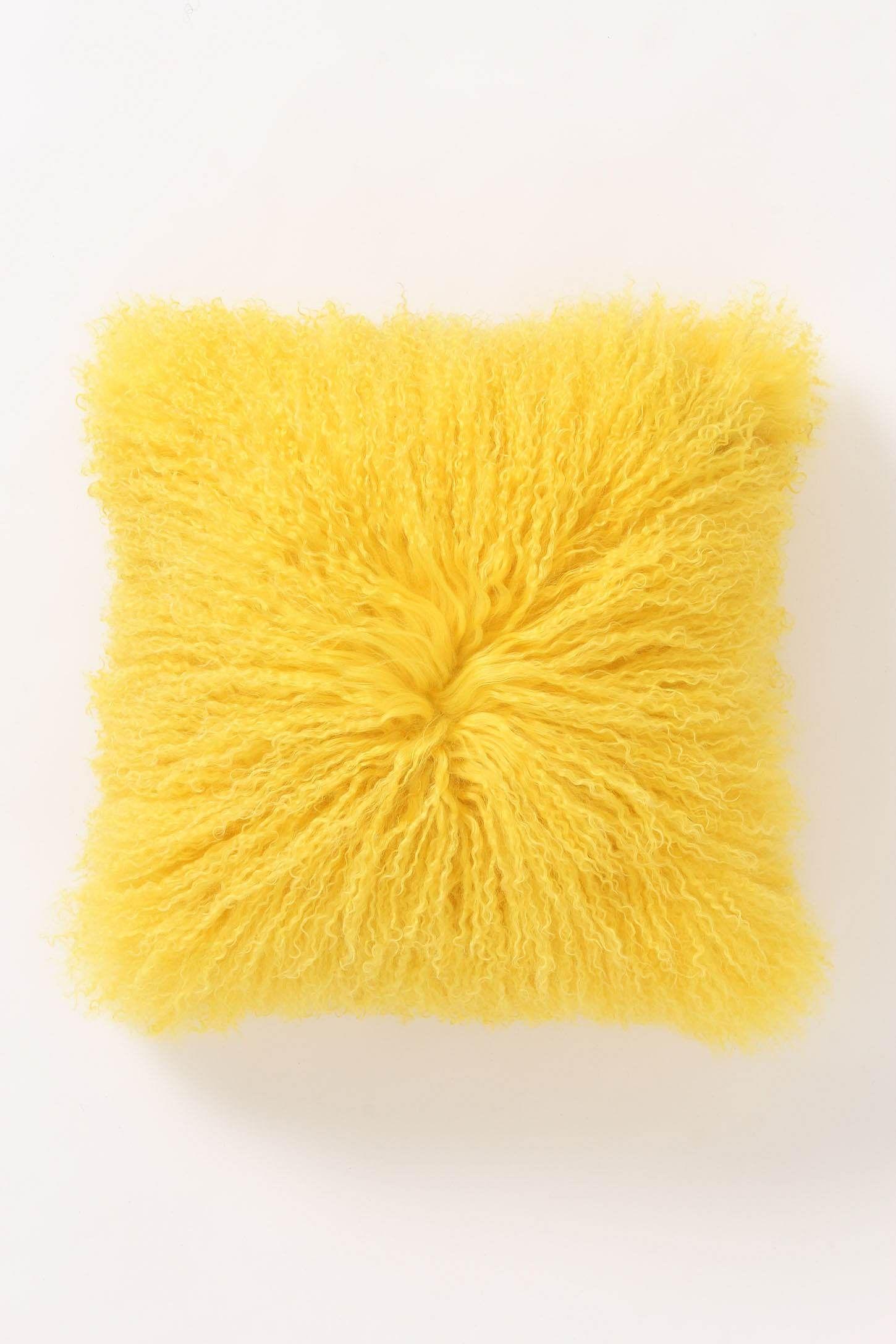 Luxe Fur Pillow Yellow Room Decor Yellow Pillows
