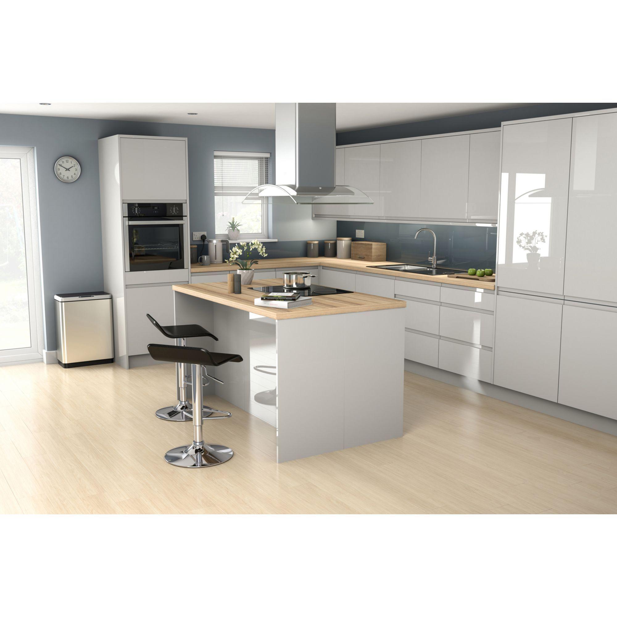 It Kitchens Marletti Gloss Dove Grey Cabinet Door W 250mm Pack Of 2 Diy At B Q Grey Cabinets Kitchen Design Laminate Worktop