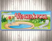 $39.95 Backyard Pool Custom Personalized Sign, Family Name