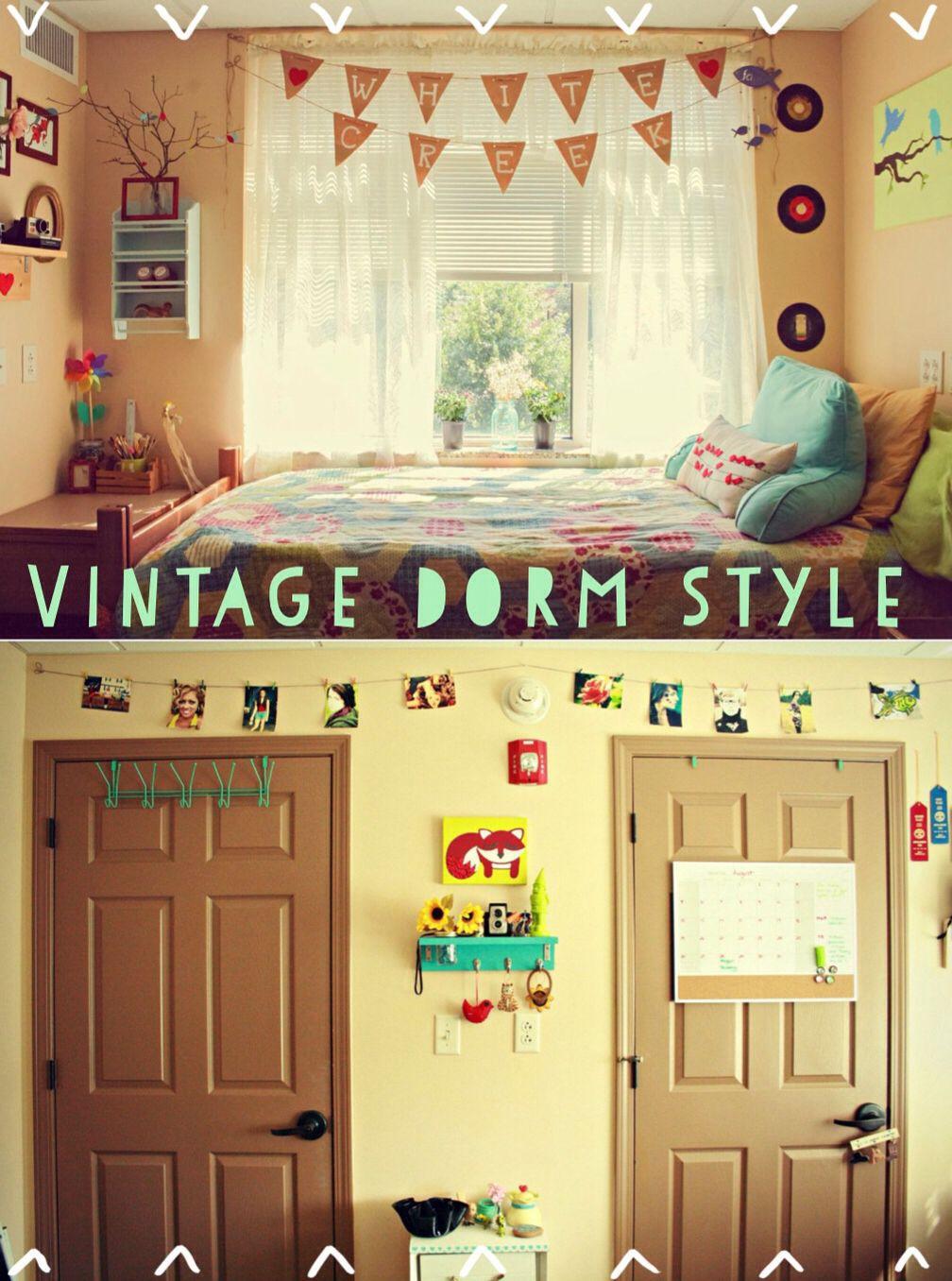 vintage dorm style #dorm #dormdecor #college #decor #vintage