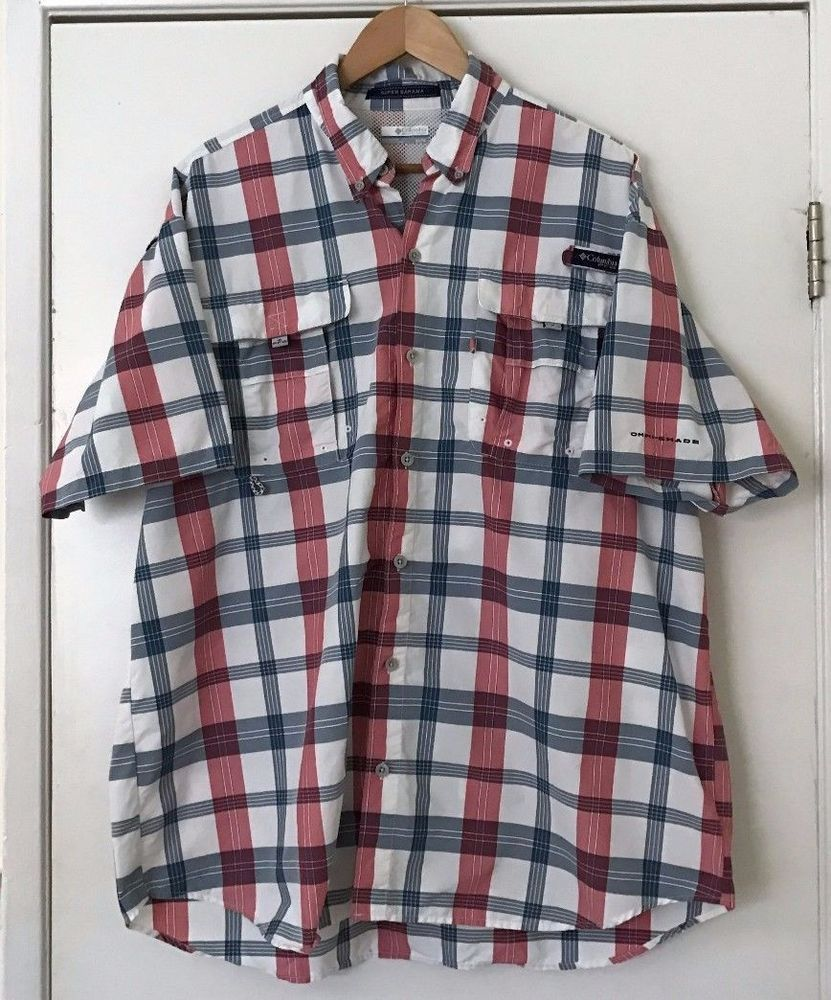 75fab6d7c6 Columbia PFG Fishing Shirt XL Super Bahama Red/White/Blue Plaid Omni Shade  #Columbia #ButtonFrontShirt