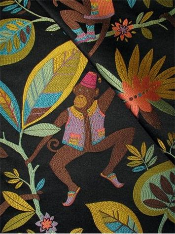 P Kaufmann Fabric Heavy And Durable 60 Poly 40 Rayon Jacquard Tropical Monkey Tapestry Suitable For Upholstery Drapery Fab 54 28 95