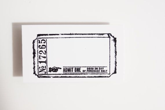Blank Admit One Ticket Stamp (Rubber Cling Mounted Stamp