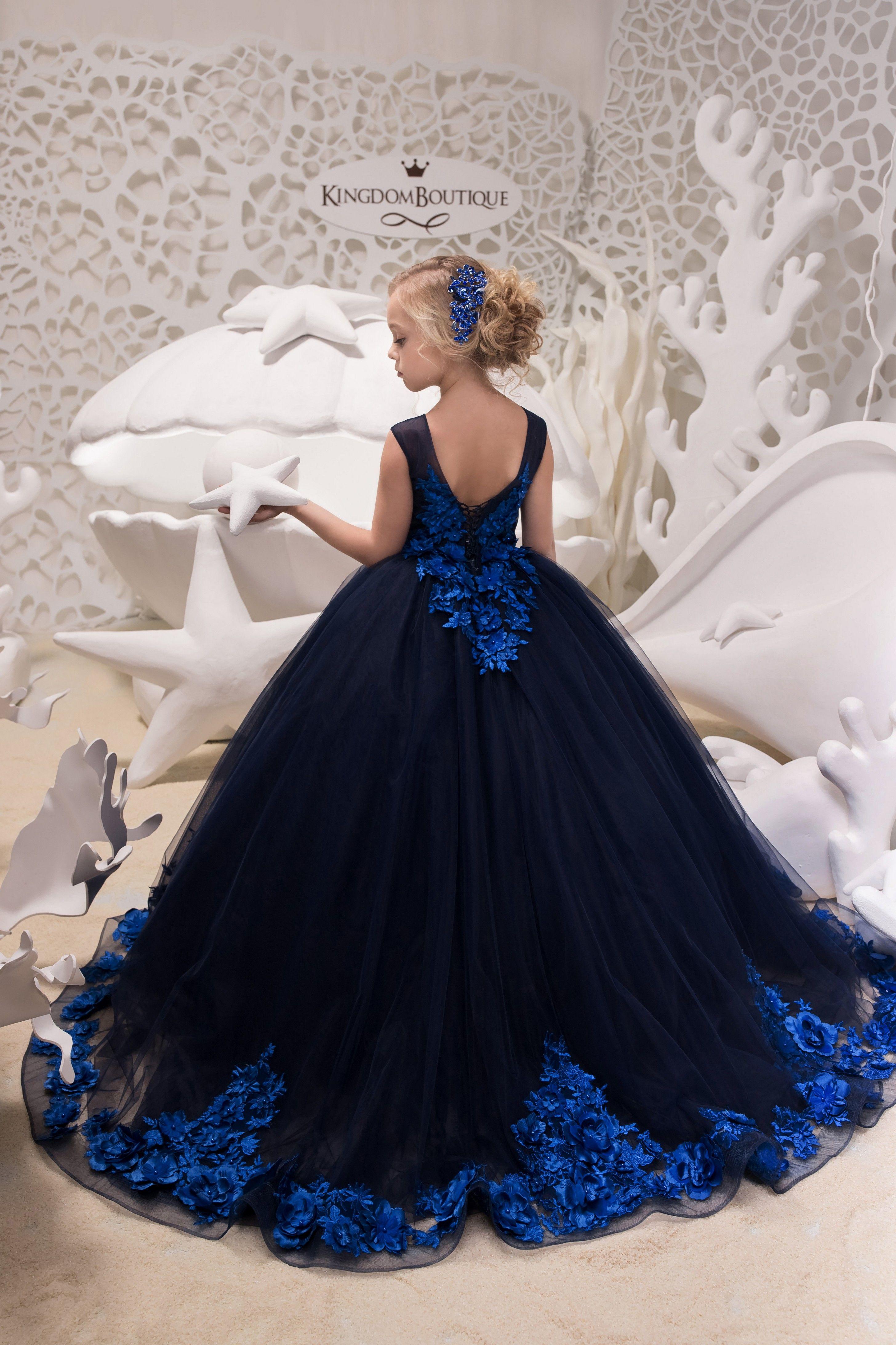 Kingdomboutique flower girl dress 21055 blue tulle
