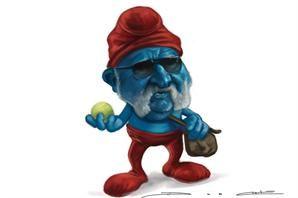 Buenísima esta caricatura de Ion Tiriac a quién se le ocurrió poner polvo de ladrillo azul en el Masters de Madrid.