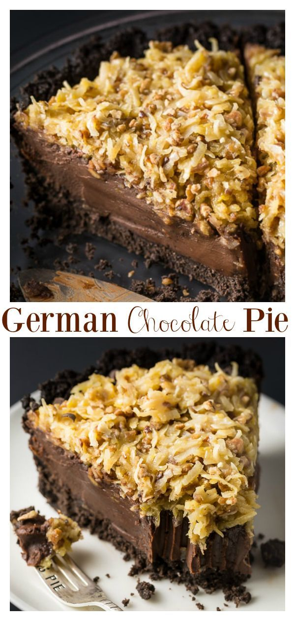 An easy and indulgent No-Bake German Chocolate Pie Recipe! Featuring a chocolate cookie crust, decadent chocolate filling, and coconut pecan topping, this sinfully sweet pie is always a hit! Perfect for those days it's too hot to bake! #nobakegermanchocolatepie #germanchocolatepie #chocolatepie #germanchocolate #chocolate #pie #nobakepie #nobakechocolatepie