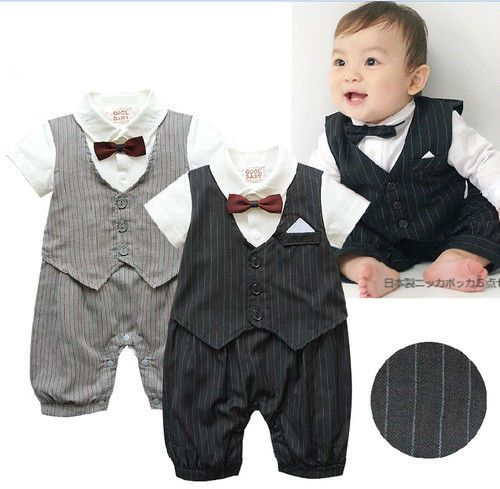 Baby Kids Boys Gentleman Shirt Romper+Bow Tie Outfit Party Wedding Formal Suit