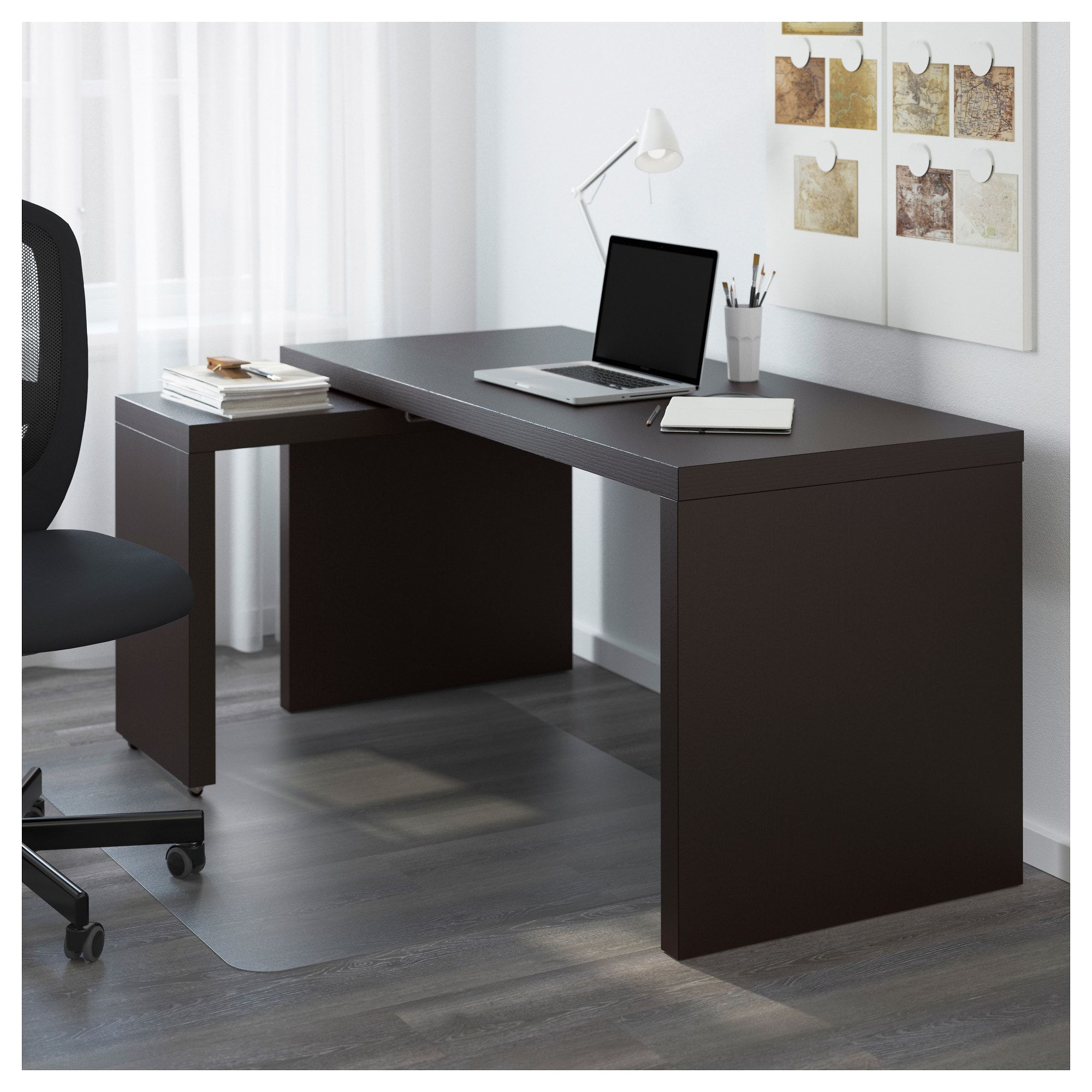 Malm Desk With Pull Out Panel Black Brown 151X65 Cm  Ikea
