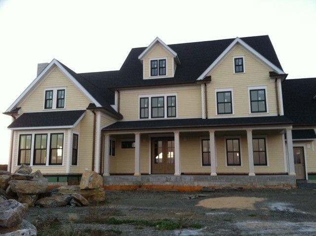 Yellow House White Trim Black Windows Gray House Exterior House Exterior Modern Farmhouse Exterior