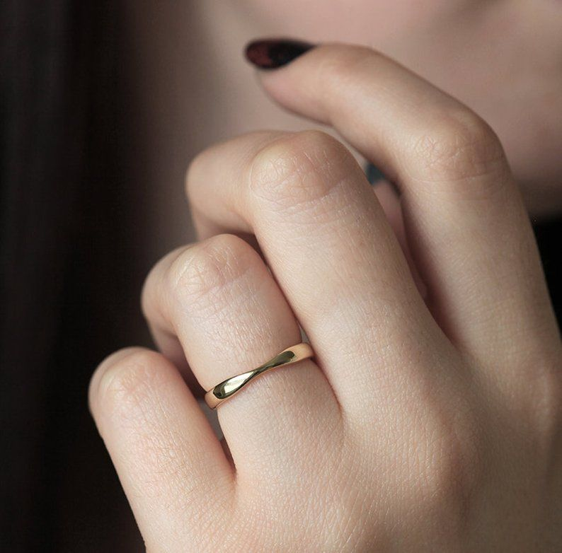 Yellow Gold Wedding Ring Gold Womens Wedding Band Simple Etsy Gold Rings Simple Yellow Gold Wedding Ring Wedding Ring Bands