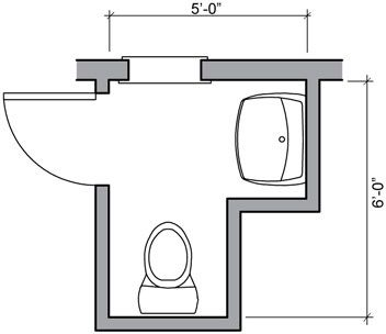 Half bath floor plan ideas 24 square foot half bath with for Bathroom design 6x7