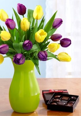 Beautiful tulips and chocolate.  The key to my heart! http://media-cache9.pinterest.com/upload/39125090482881165_WoobnAID_f.jpg suedeane yes