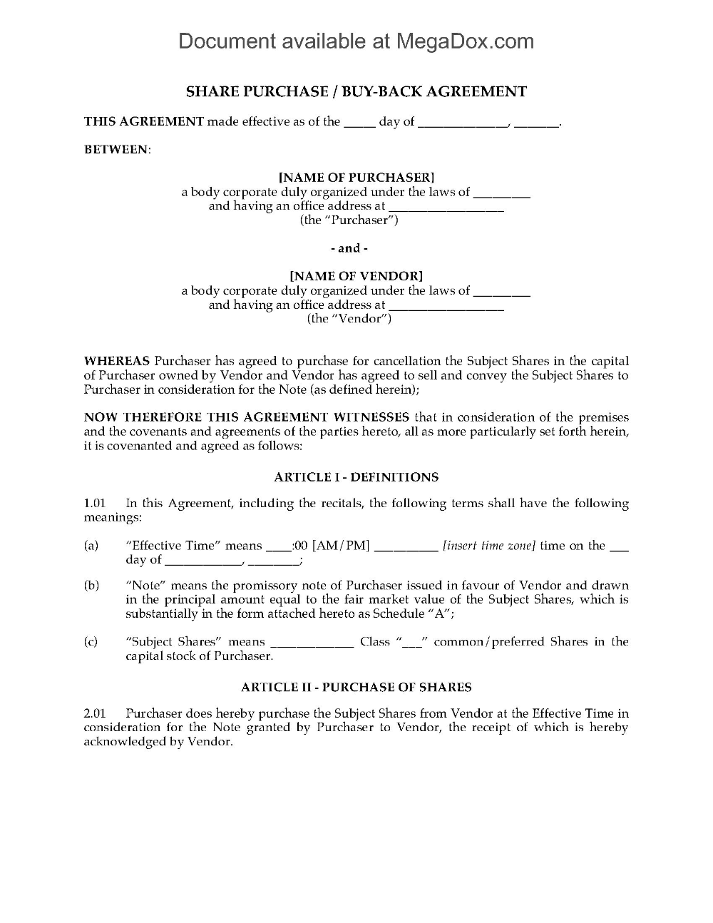 Share Repurchase Buyback Agreement Legal Forms And Business Regarding Vendor Take Back Agreement Legal Forms Professional Graphic Design Professional Templates