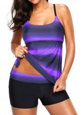Padded Printed Strappy Back Tankini Top and Shorts | liligal.com - USD $31.95 3