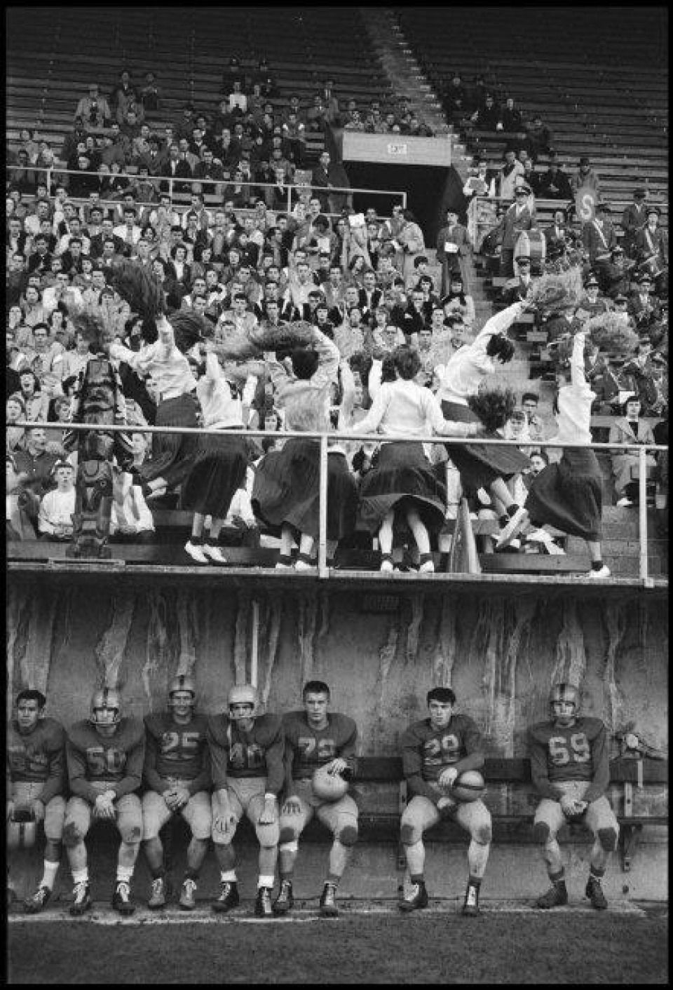 photo of a high school football game in 1955 High school
