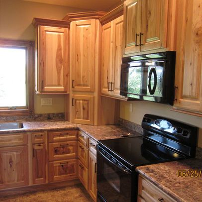 Pin By Peggy Berg On Kitchen Hickory Kitchen Cabinets Rustic Kitchen Design Hickory Cabinets