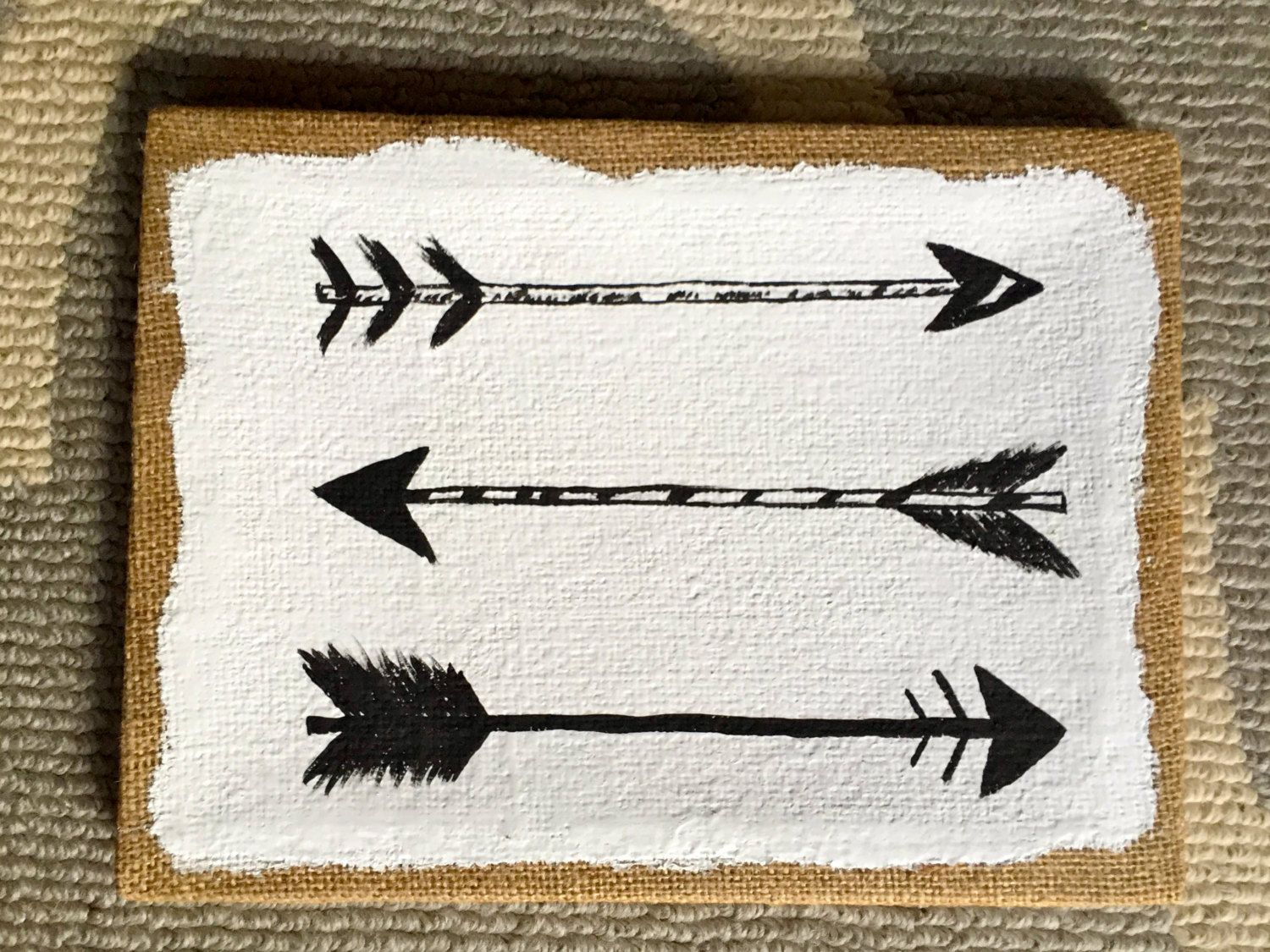 Arrow Acrylic Painting On Burlap