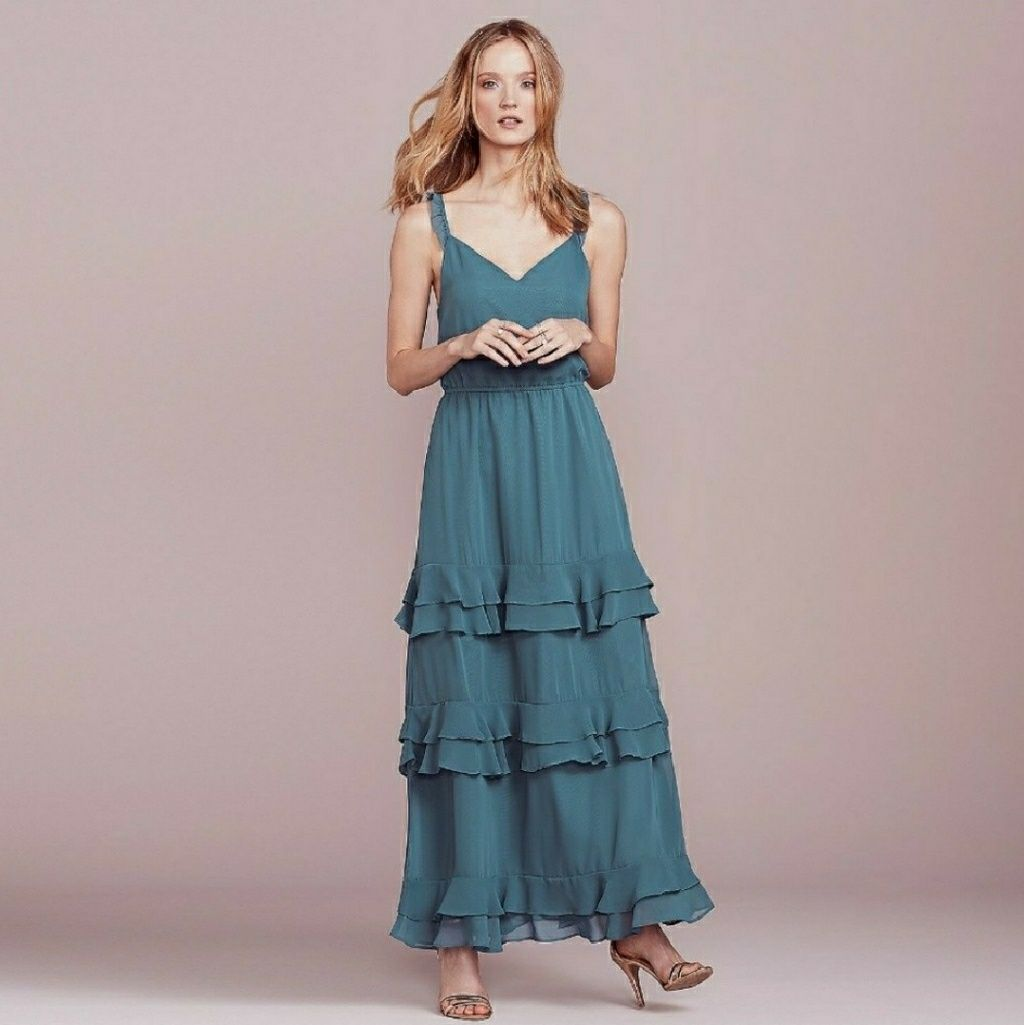Nwt lc lauren conrad blue tiered ruffle maxi dress products