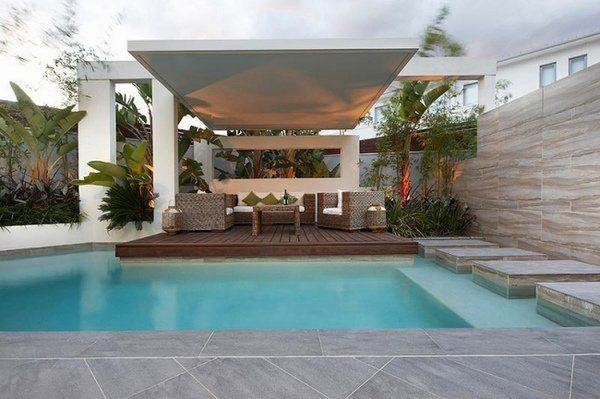 Delightful Patio Pool Platform Wooden Deck Canopy Palm Tree Backdrop Elegant Outdoor  Furniture