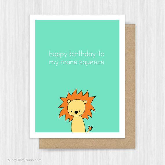 Funny Birthday Card For Boyfriend Husband Him Lion Pun Mane