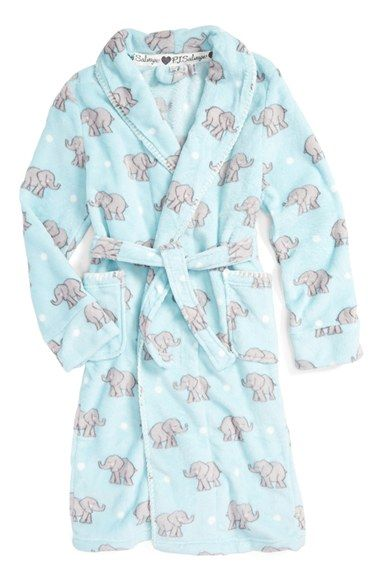 Pj Salvage Elephant Print Fleece Robe Little Girls Amp Big