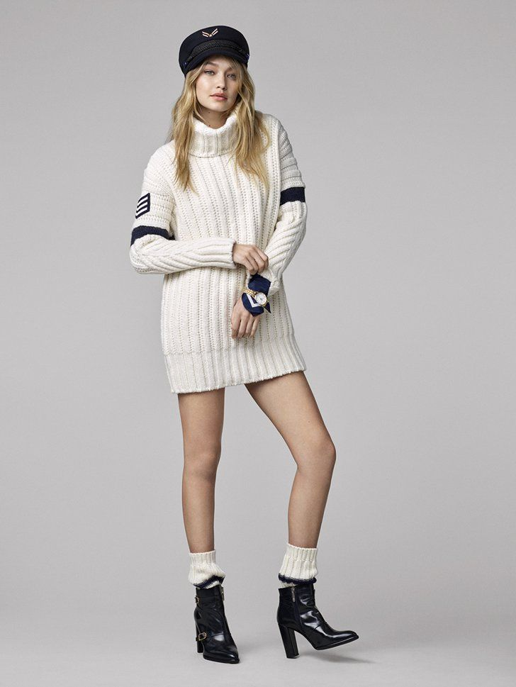 7325113af Pin for Later  Finally  The Gigi Hadid x Tommy Hilfiger Lookbook Is Here  Gigi is ready for Winter in this turtleneck sweater.