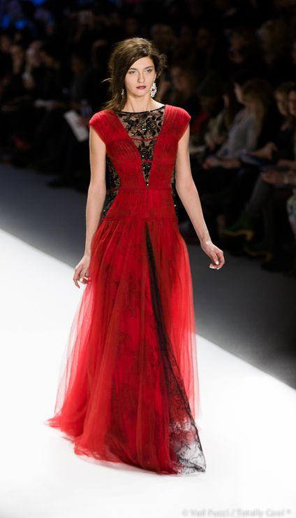 Red dress black lace insert