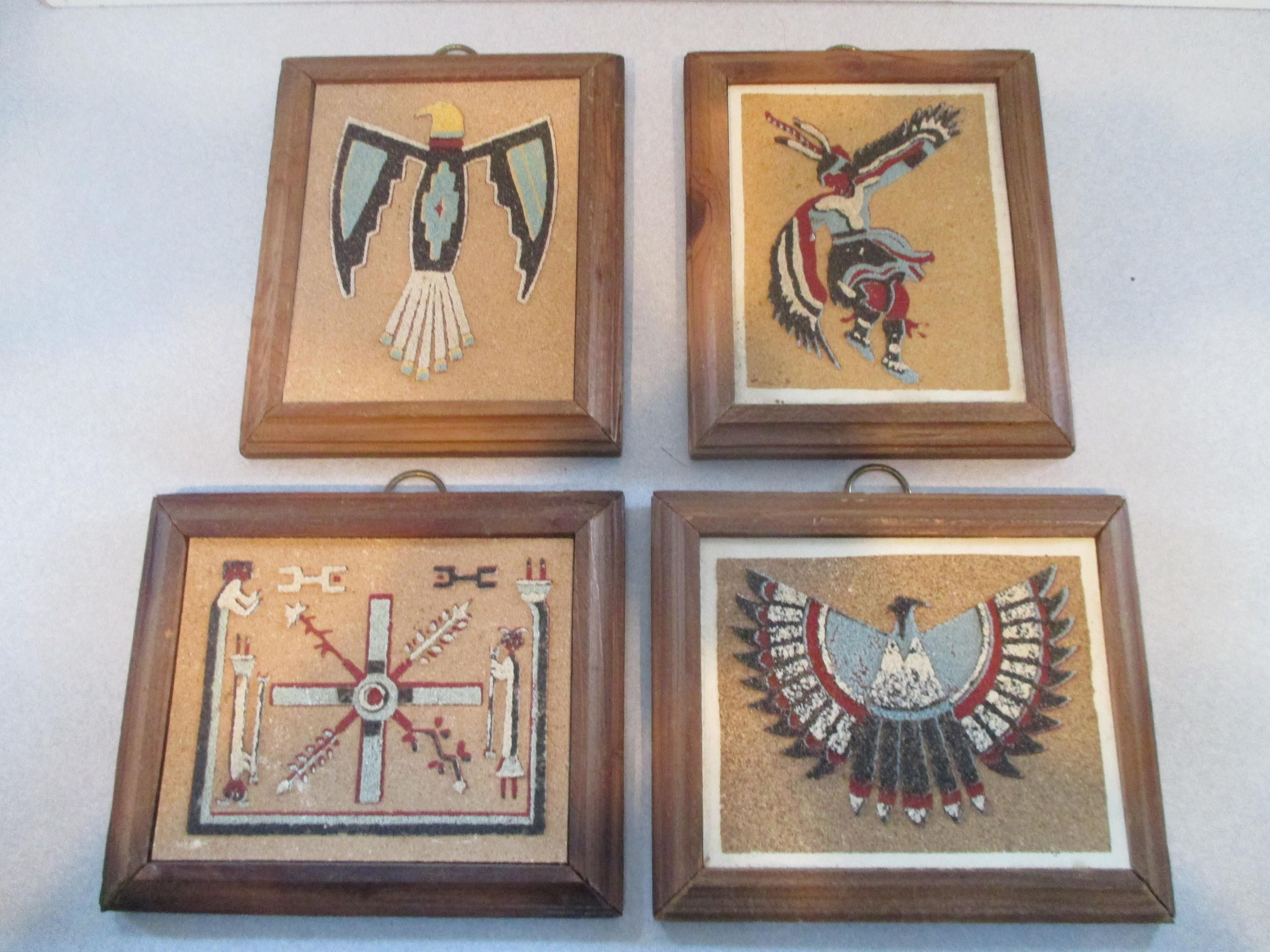 Vintage collectible native american indian art set of