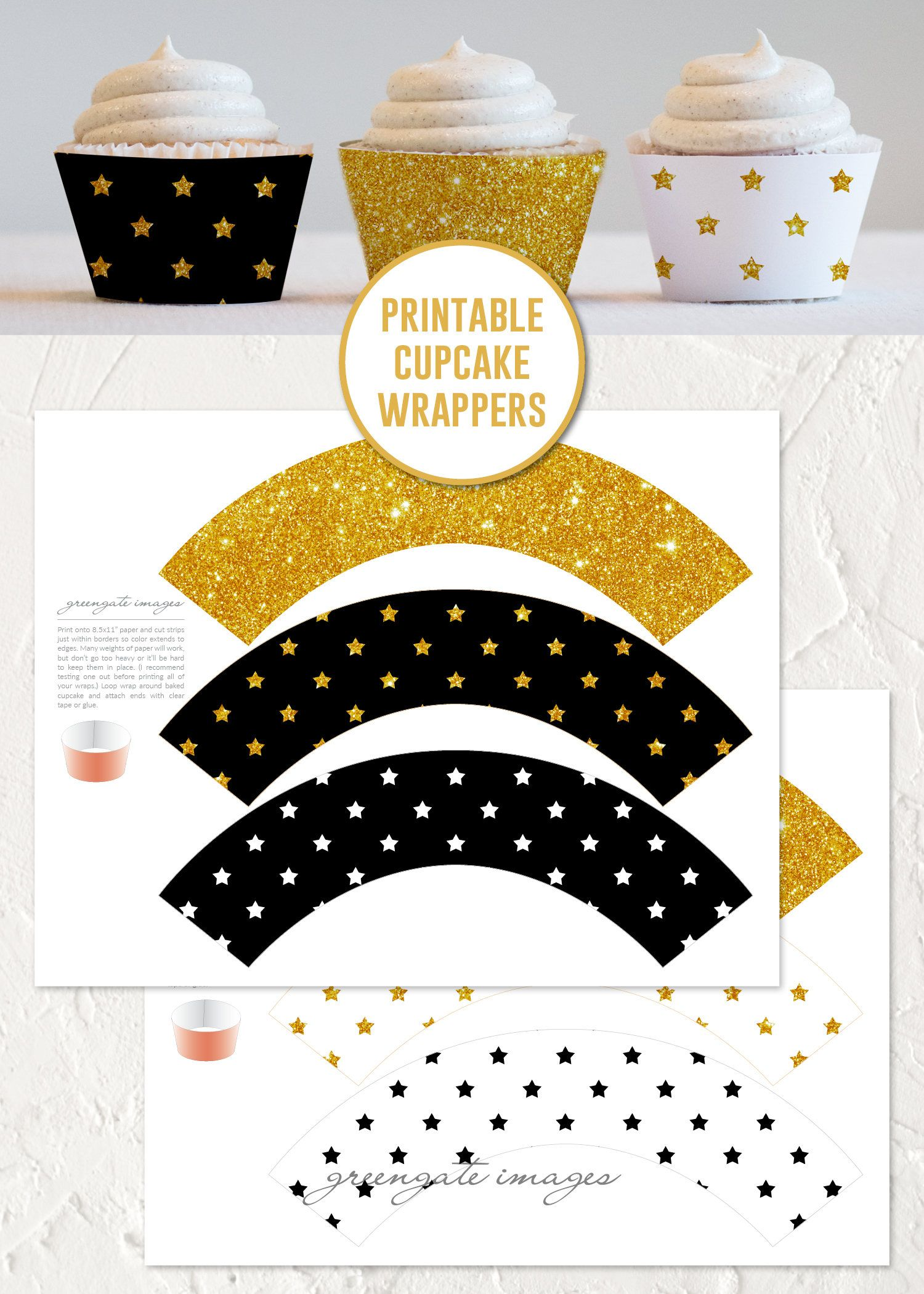 glittery black and gold cupcake wrappers instant download new years eve decor bachelorette party