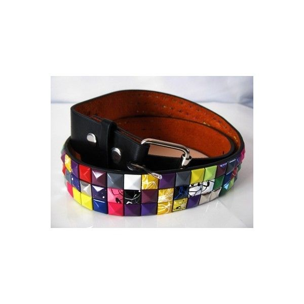 Rowfers Online Store: black multi colour studded belt ($13) ❤ liked on Polyvore