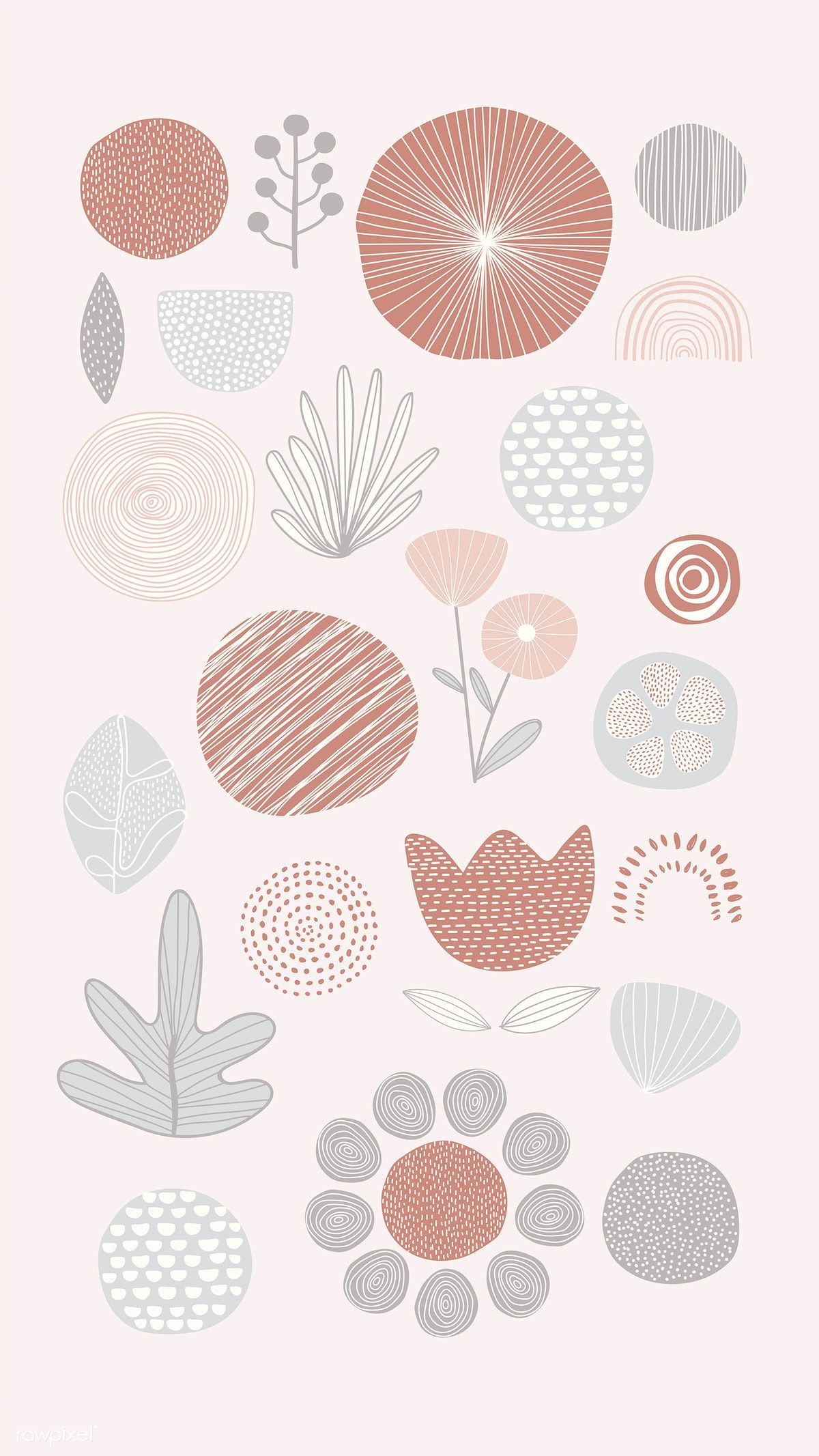 Download premium vector of Natural patterned doodle background vector