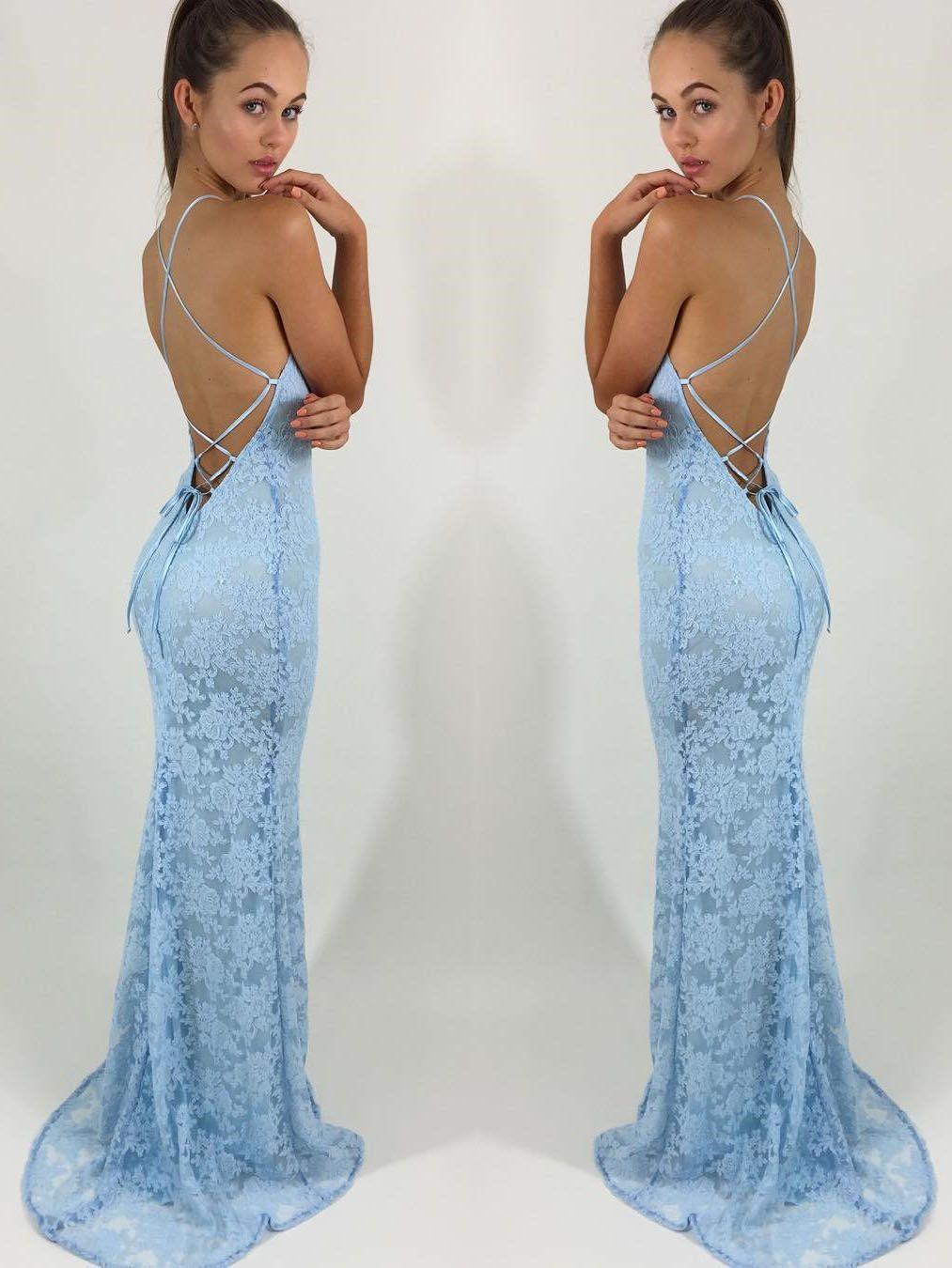 prom dresses, 2018 prom dresses, blue lace long prom dresses ...