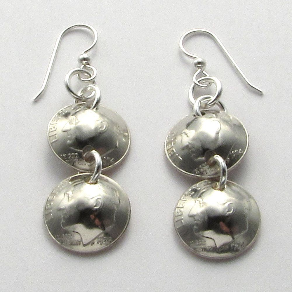 1974 Double US Dime Earrings 40th Birthday or Anniversary