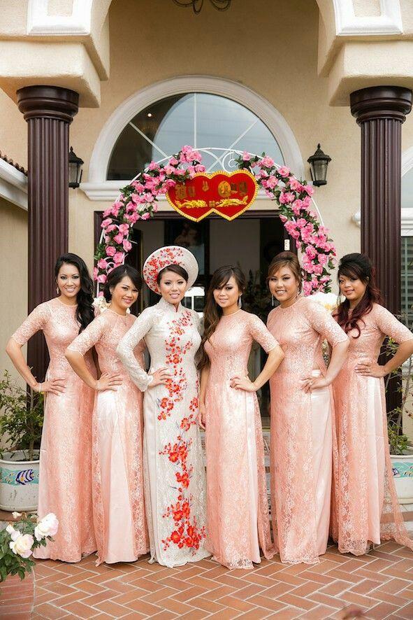 Ao Dai Simple Blush Bridesmaids Color Dai lace Love
