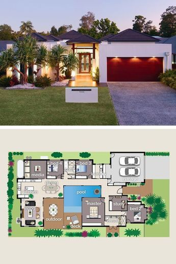 House Is Designed Around The Pool And Giant Outdoor Entertaining Area Designer Prizehome House Exterior New House Plans House Layouts