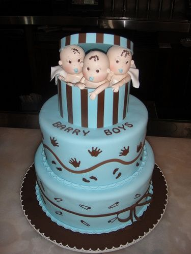 Baby Shower Cakes For Triplet Boy Baby Shower Cookies Baby Cake