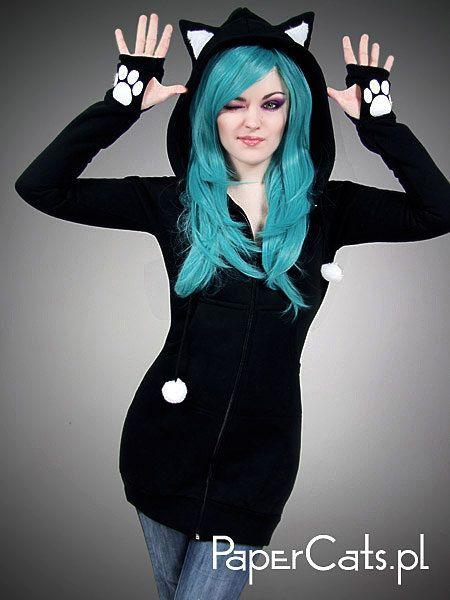 Black cat hoodie long ears animal kitty. $75.00, via Etsy.