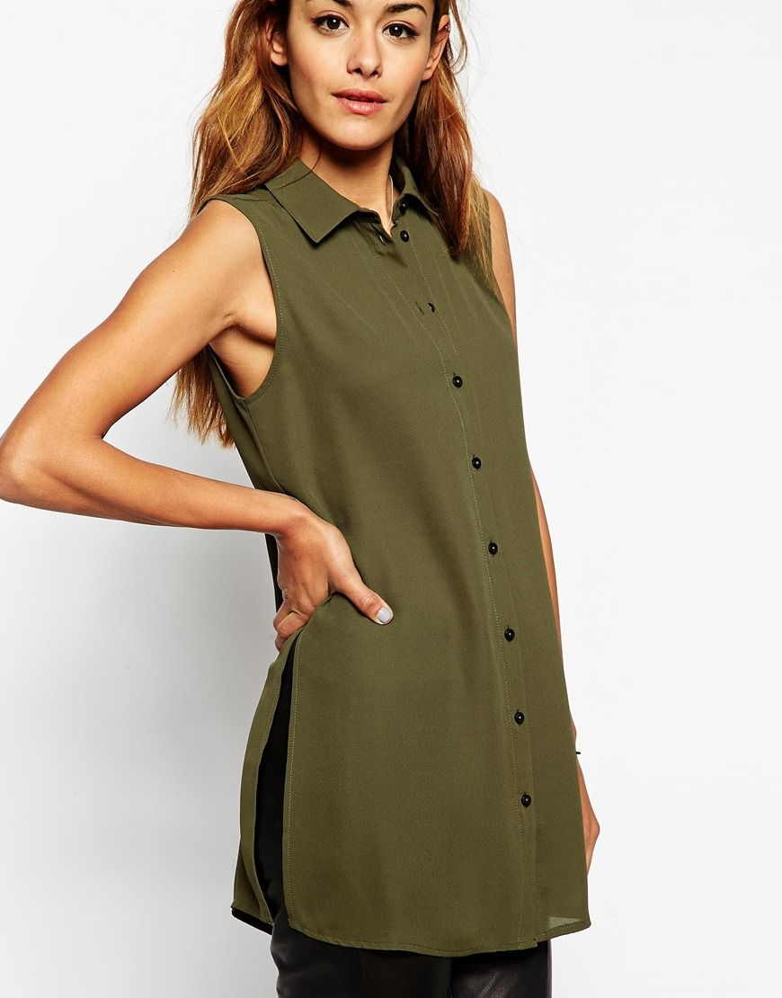 33675f23702 ASOS Longline Sleeveless Blouse with Side Splits | Shirts ...