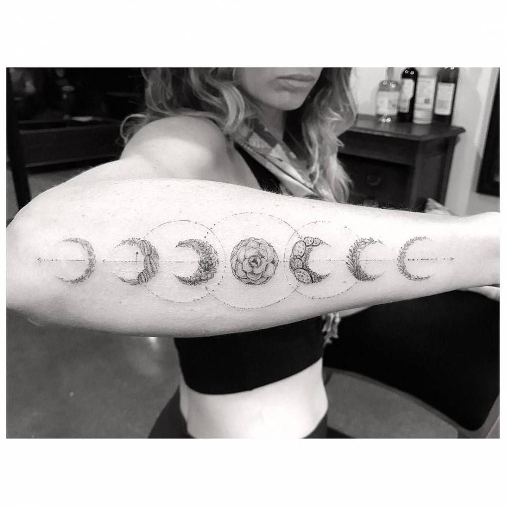 Fine line moon phases made out of plants  Tattoo Artist: Dr