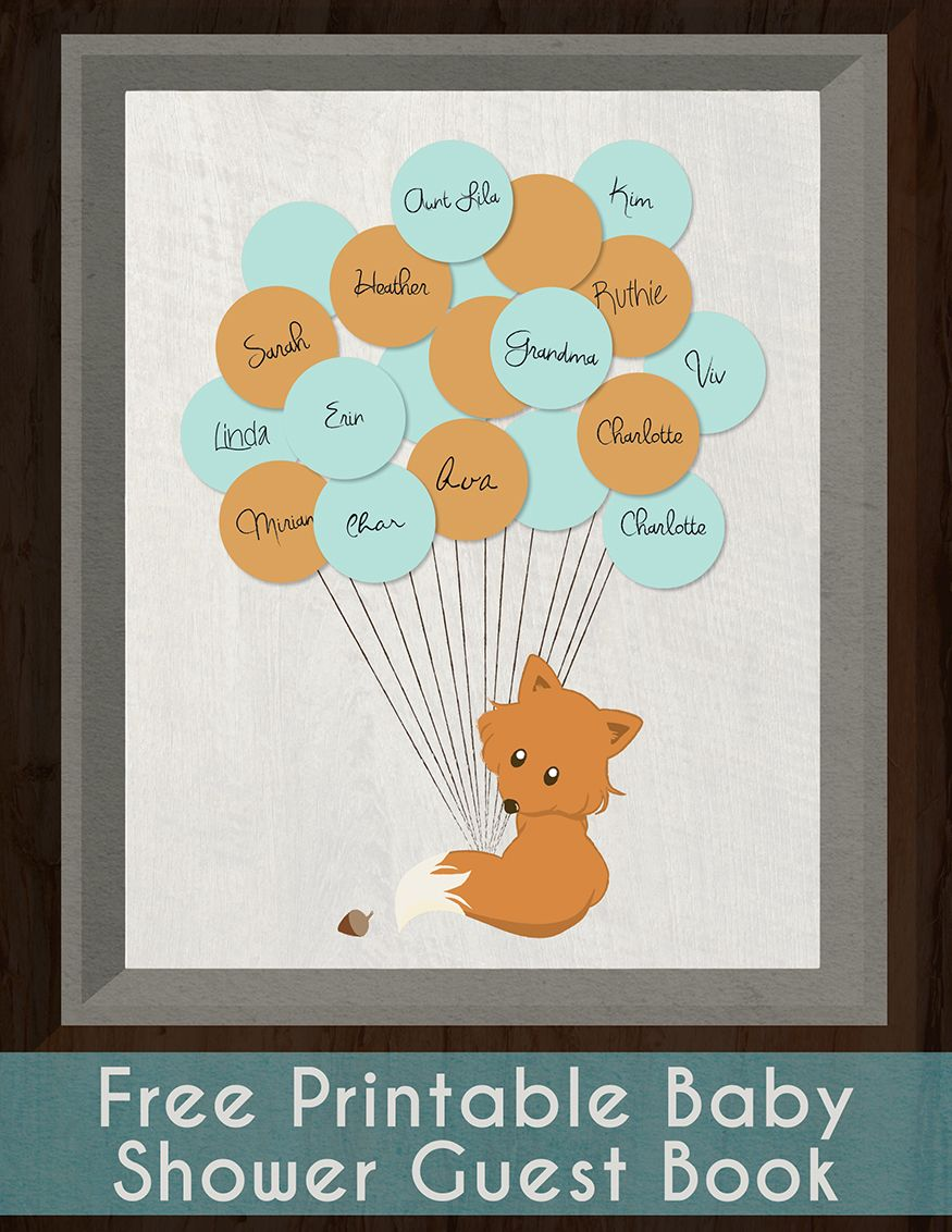 Fox Guestbook Free Printable – Printable Baby Shower Guest List
