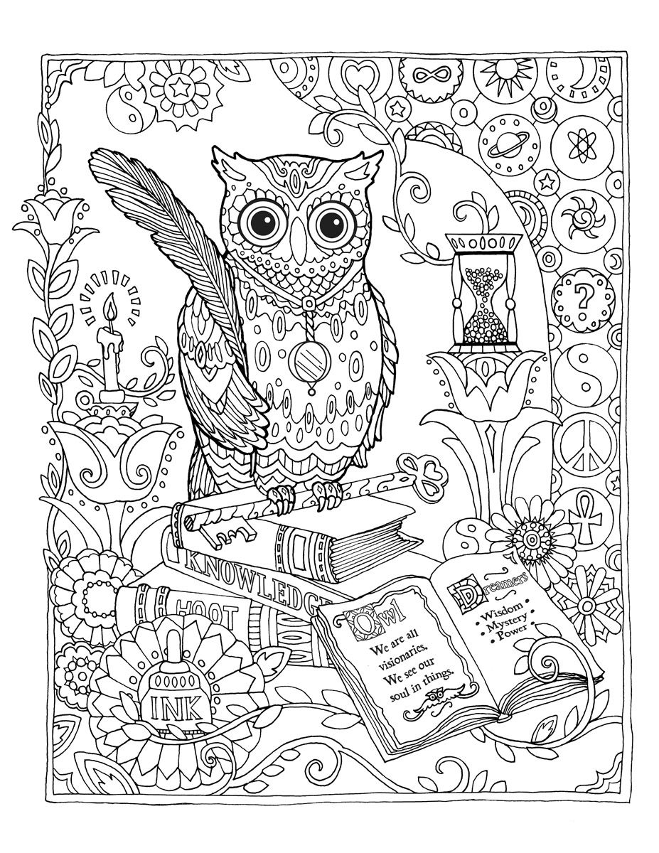 04 library-owl_flat.jpg | Coloring Sheets | Pinterest | Ausmalbilder ...