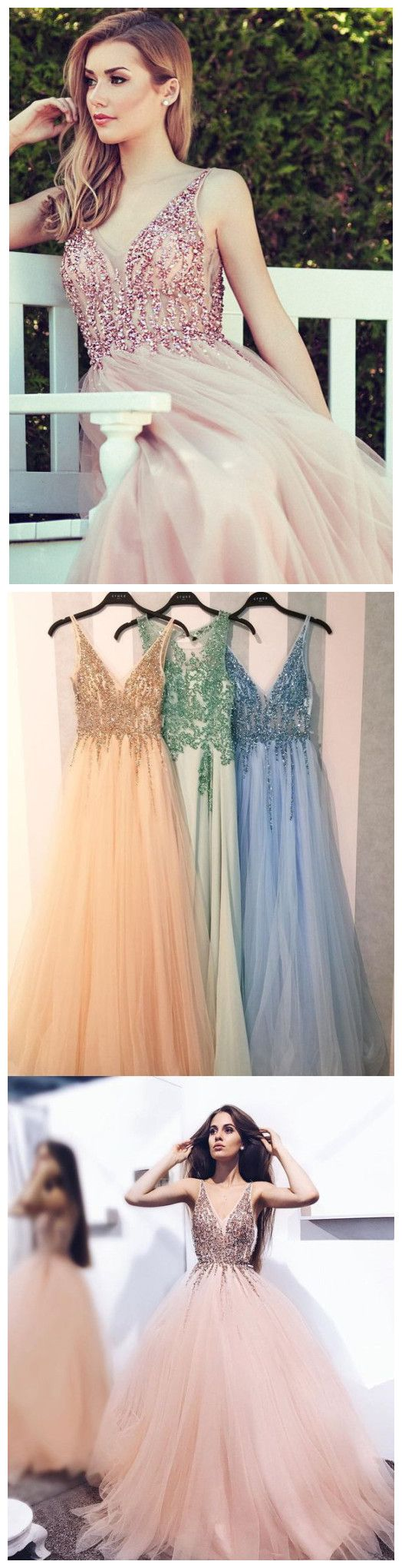 Aline v neck pink prom dress floor length with beading prom dresses