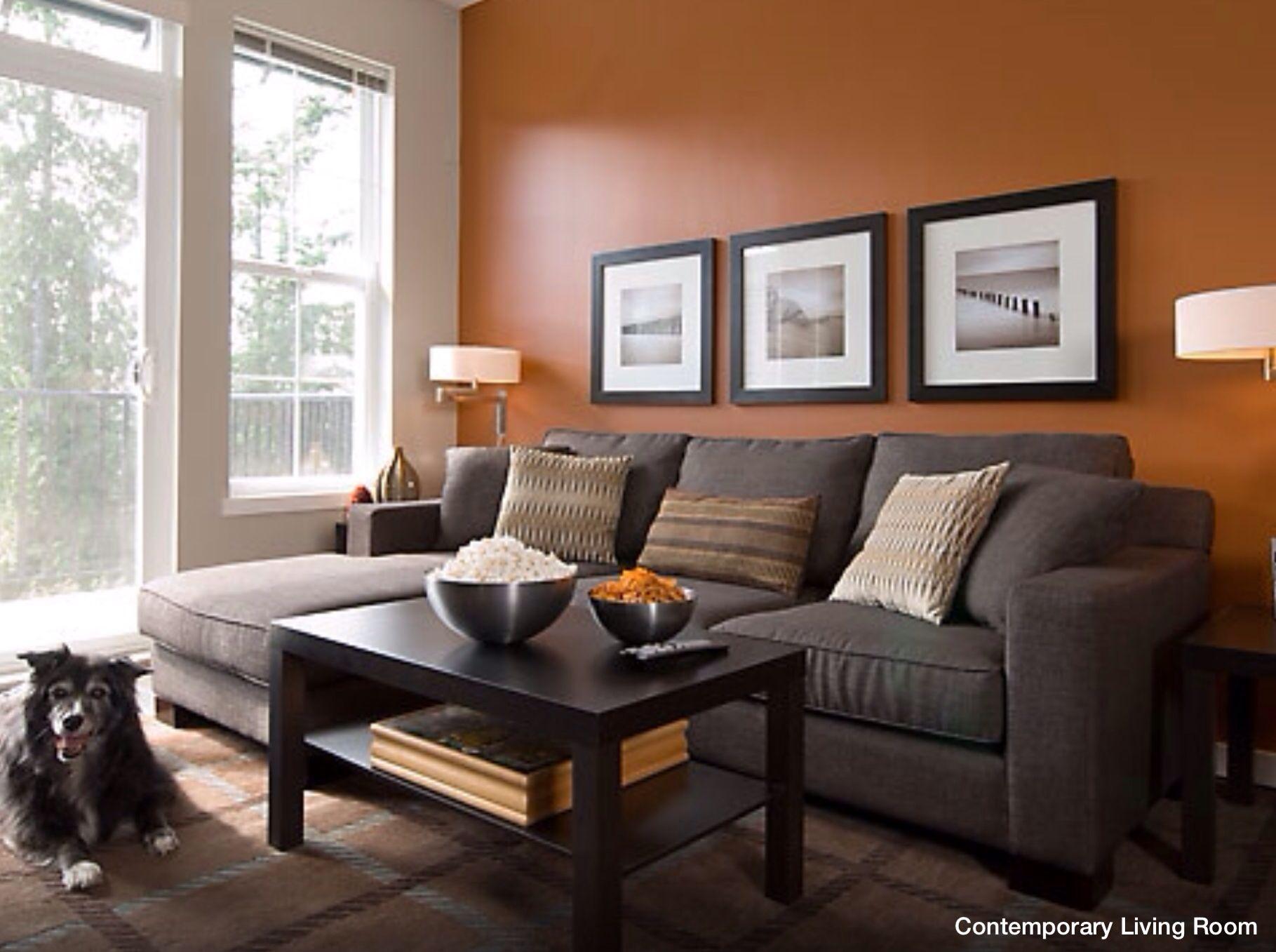Wall Accent Color Burnt Orange Living Room Orange Living Room