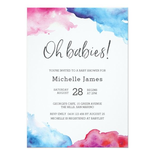 Twin Baby Shower Invitation Blue And Pink Zazzle Com In 2019
