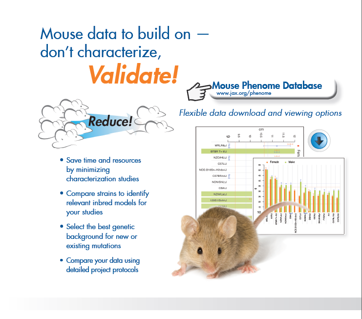 What if you could accentuate or alleviate your phenotype of interest or easily identify ways to speed up project timelines? You can — with the Mouse Phenome Database (MPD). Begin today by building on more than 765,000 baseline data points — across more than 700 strains — relevant across all research areas. MPD has data on diverse phenotypic areas, including reproduction, clinical chemistry, body weight, hematology, behavior, and metabolism.    http://phenome.jax.org/