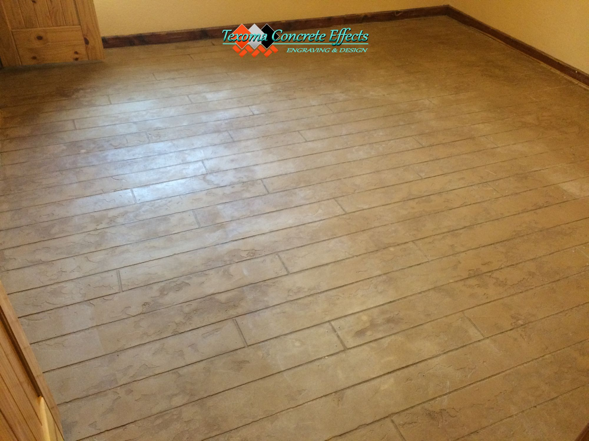 Stained Concrete Overlay Wood Plank Design In Bedroom By Texoma Concrete Effects Iowa Park Tx Stained Concrete Concrete Overlay Concrete