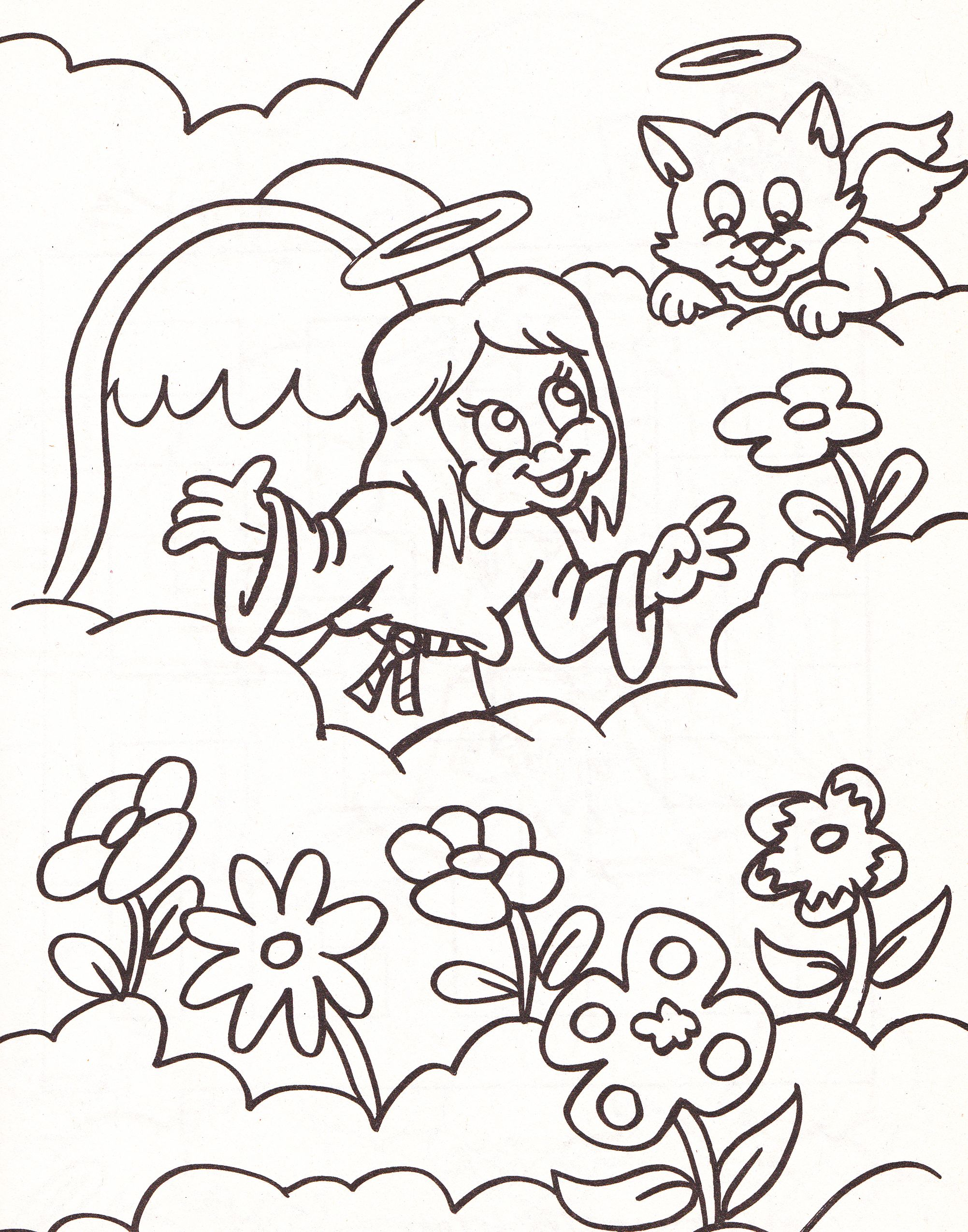 Angel Coloring Page With Cat And Flowers